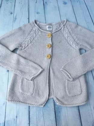 Mini Boden oatmeal 3 button cardigan with pockets age 6-7